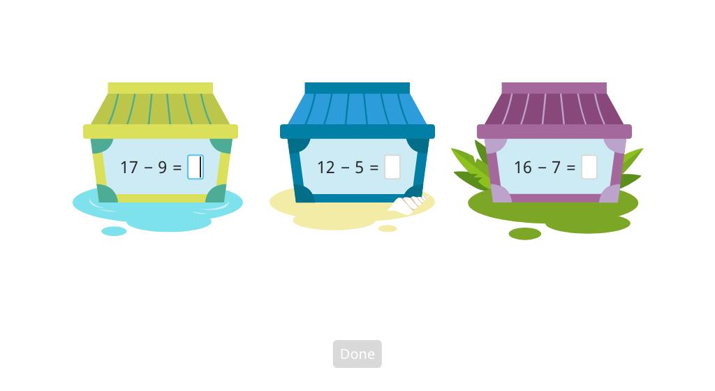 Solve 2-digit minus 1-digit subtraction equations across 10