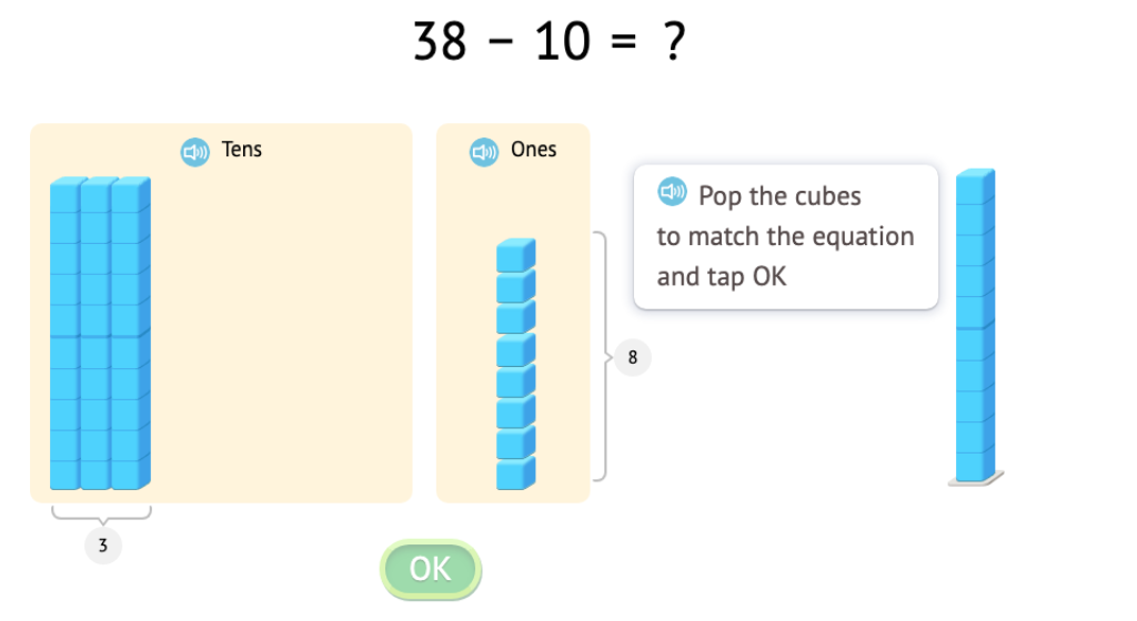Solve equations that add or subtract 1 or 10 with and without modeling with base-10 blocks (Part 4)
