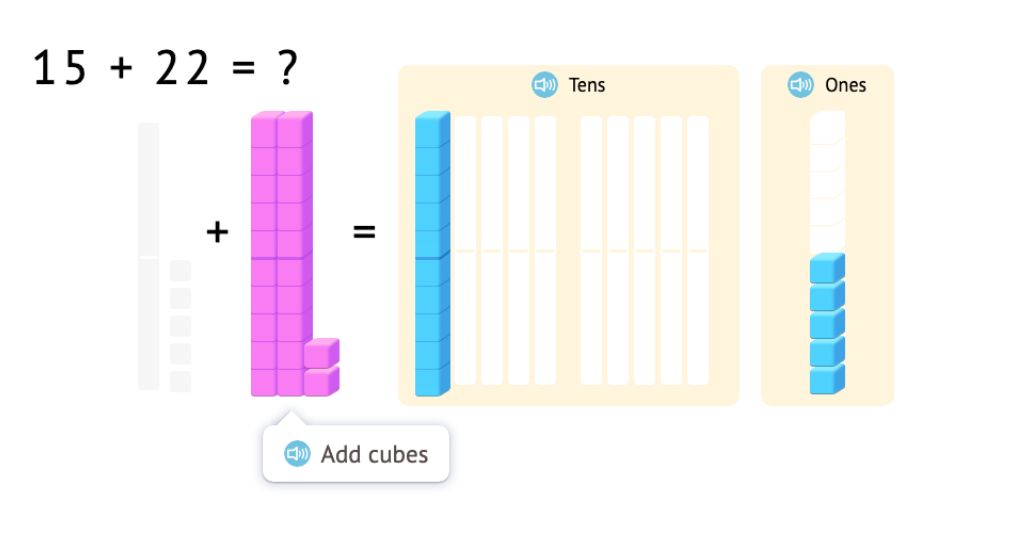 Model and solve 2-digit addition equations within 40 using base-10 blocks