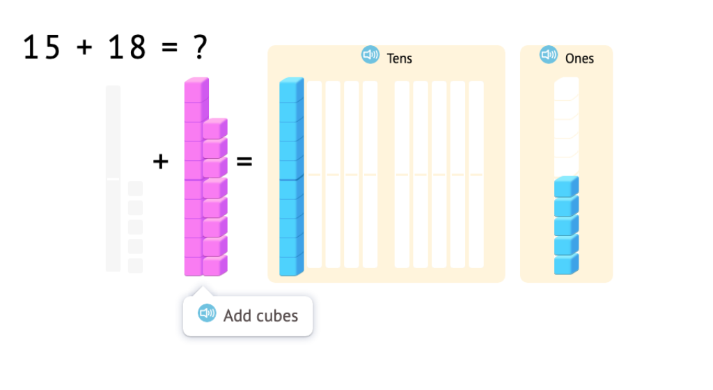Model and solve 2-digit addition equations with exchanging using base-10 blocks (Part 1)