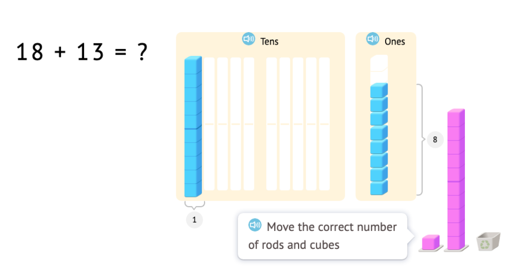 Model and solve 2-digit addition equations with exchanging using base-10 blocks (Part 2)