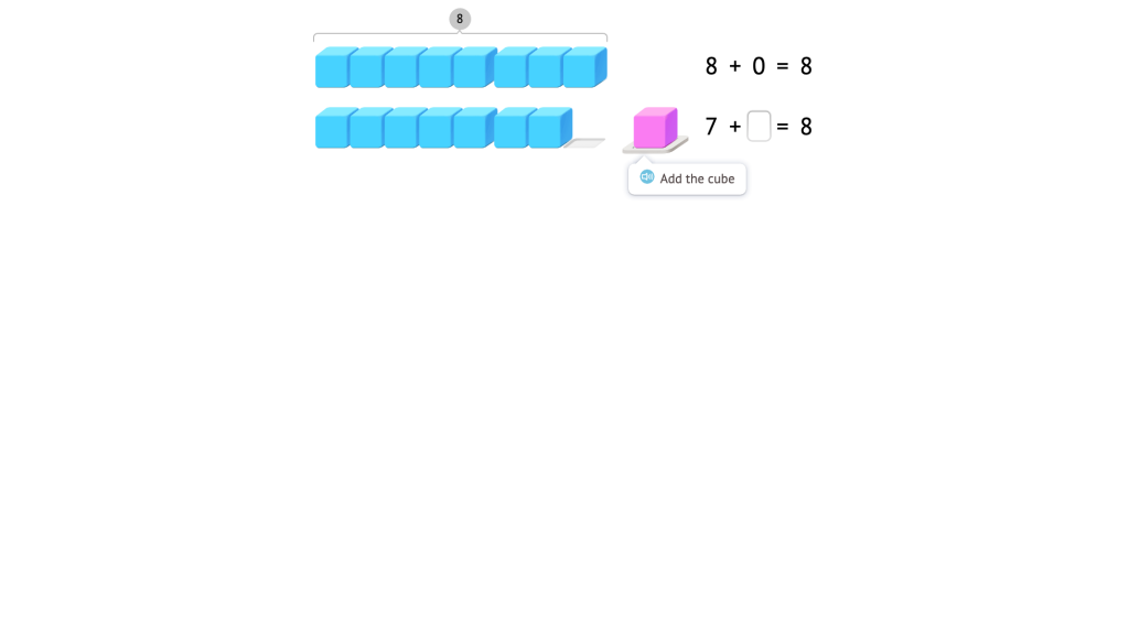 Complete addition equations with a sum of 8 based on a model of base-10 blocks