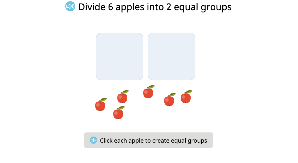 Divide a set of objects into a given number of equal groups and identify the number of objects in each group