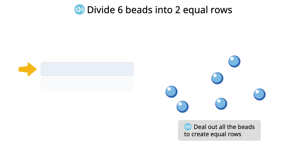 Arrange a group of objects into an array and compose a division equation based on the model