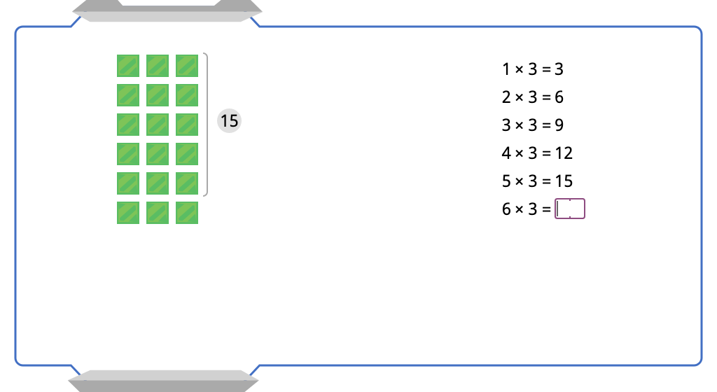 Multiply by 3 with and without an array model (Level 2)