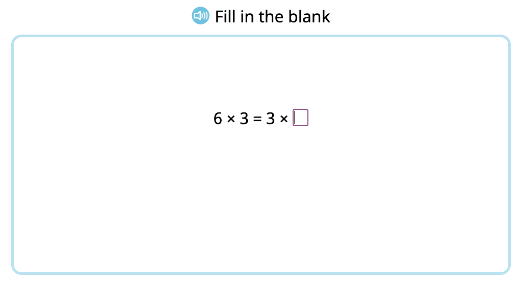 Complete equations to show the commutative property of multiplication by 3 (Level 2)