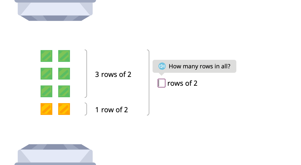 Label arrays with equations to show the distributive property of multiplication by 2 (Part 1)
