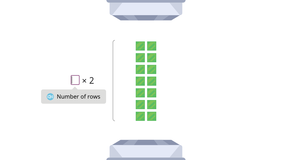 Label arrays with equations to show the distributive property of multiplication by 2 (Part 3)