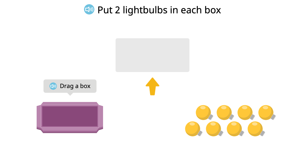 Distribute objects equally to create a tape diagram (How many groups?)