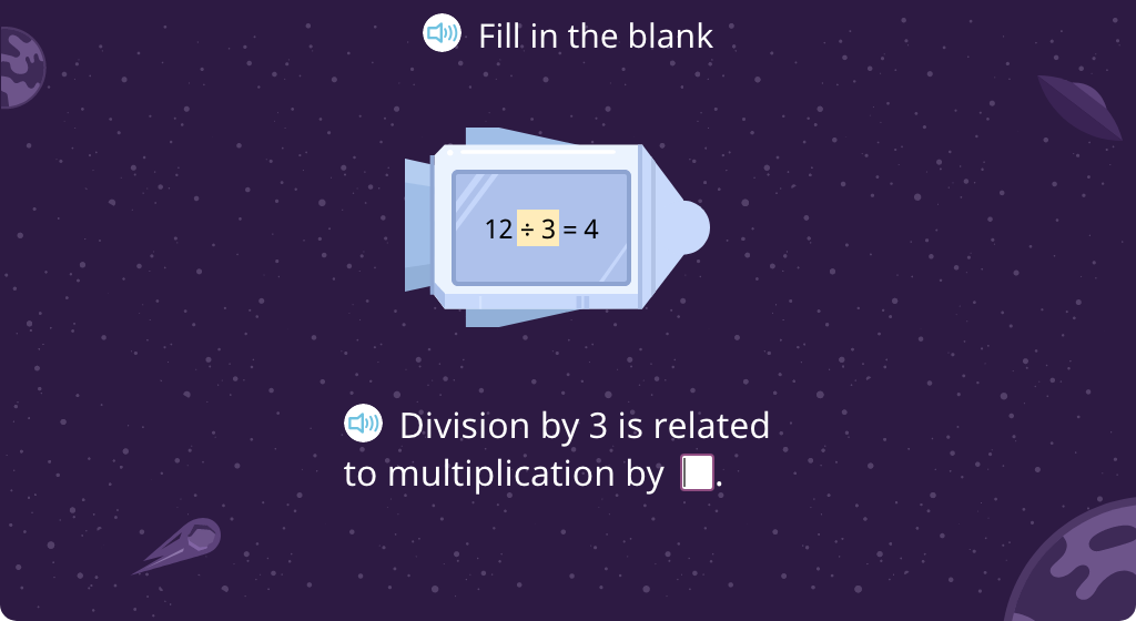 Match a division fact to its related multiplication fact
