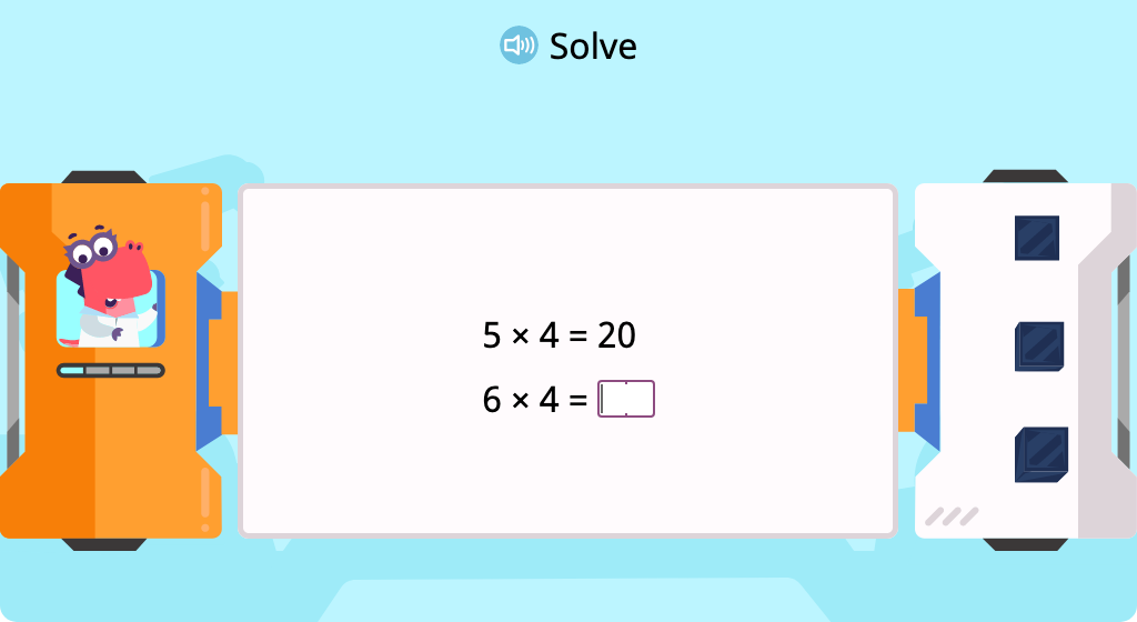 Multiply by 4 to complete a pattern of equations