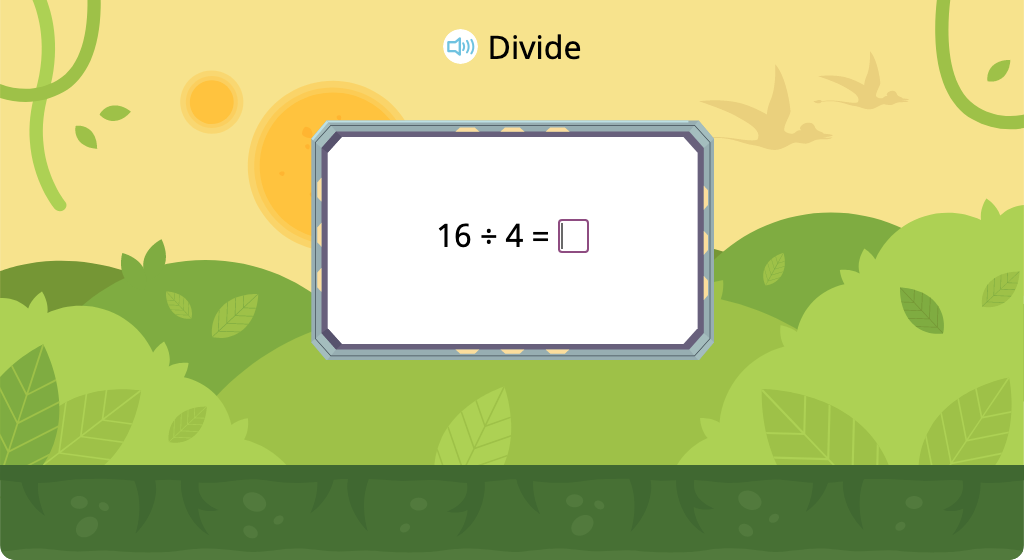 Solve division equations with a divisor of 4 (Level 2)