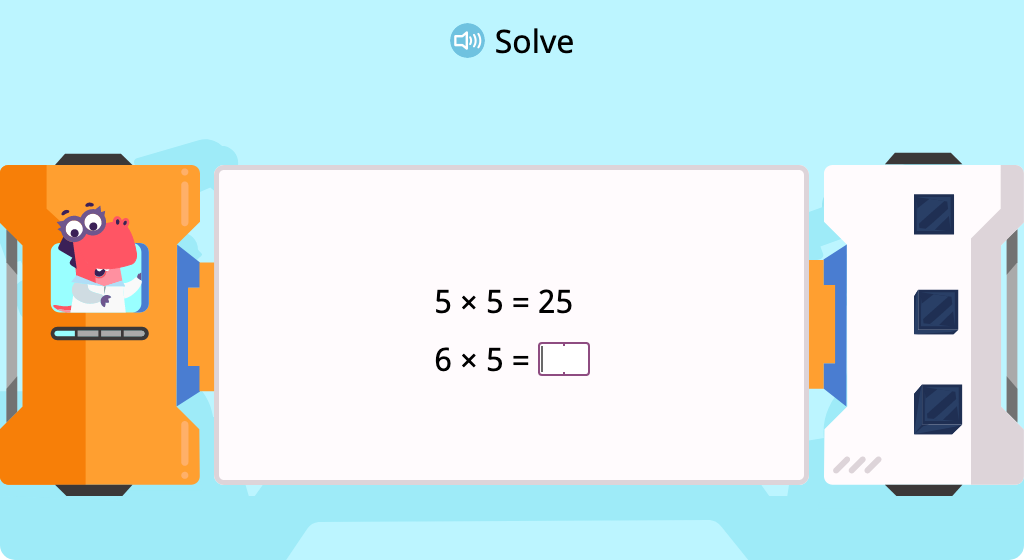 Multiply by 5 to complete a pattern of equations