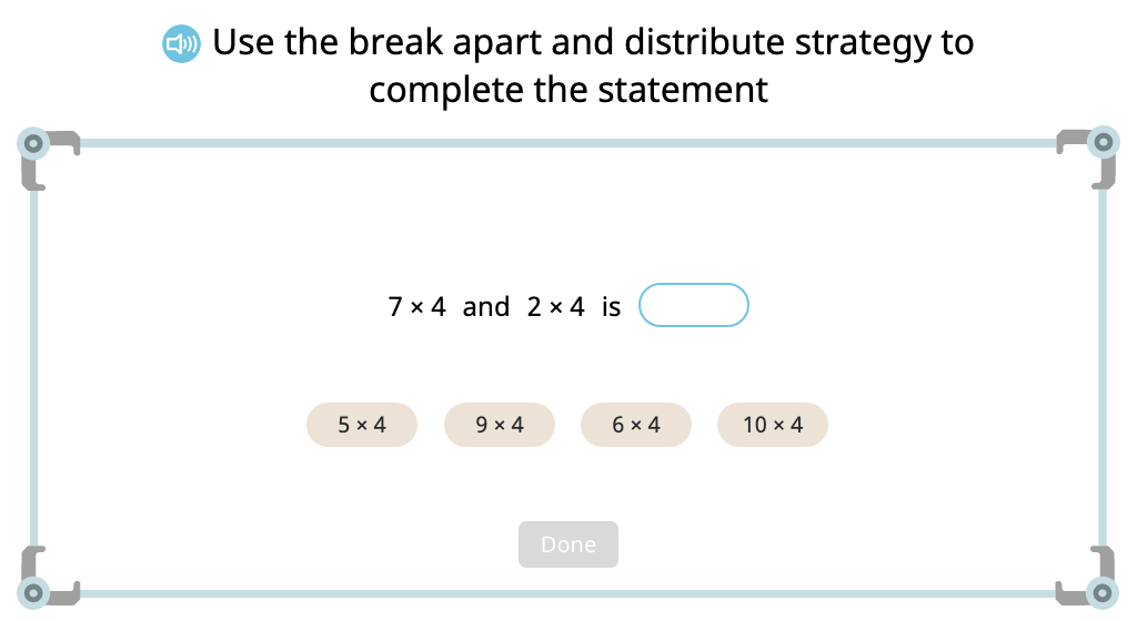 Complete expressions based on the distributive property of multiplication