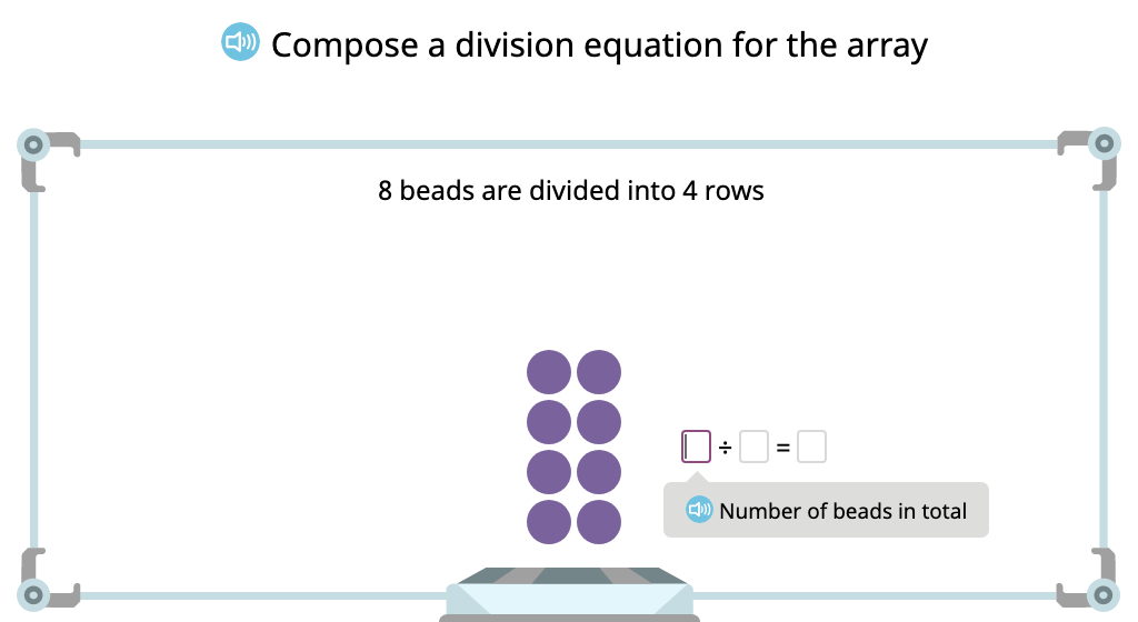 Compose a division equation based on an array