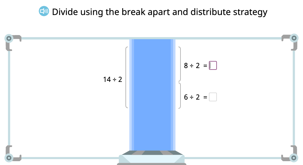 Compose a division equation based on an array to show the distributive property of division