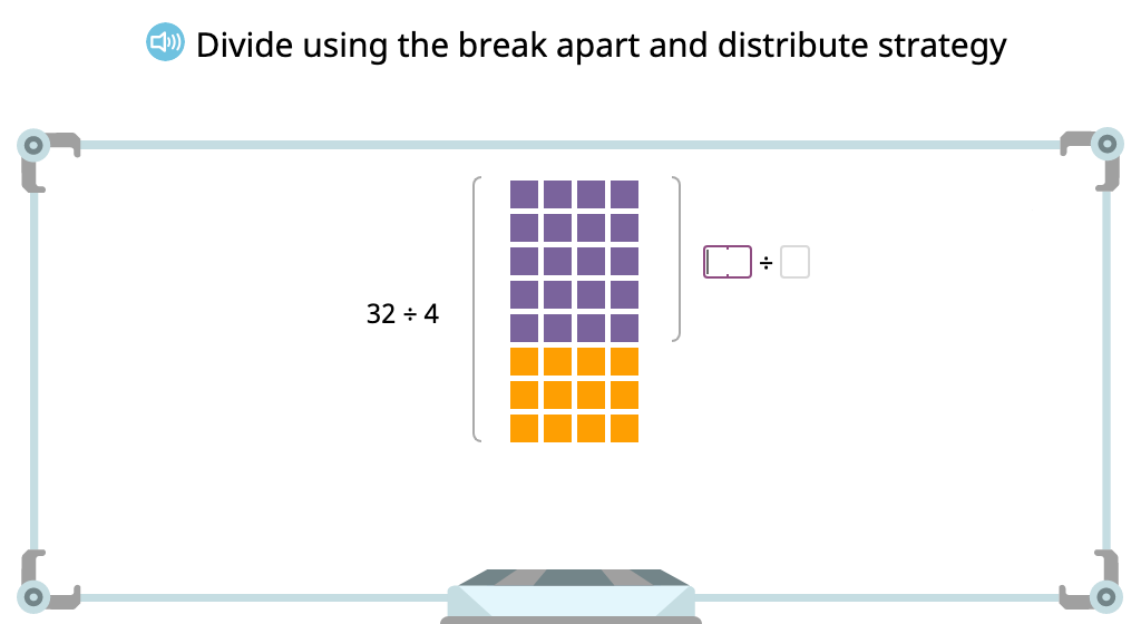 Solve a division equation based on an array by using the distributive property of division