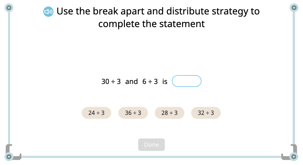 Complete expressions based on the distributive property of division