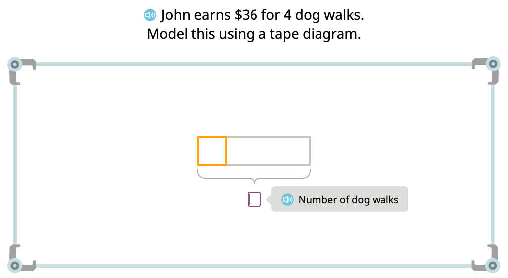 Solve word problems using tape diagrams and division equations (Level 2)