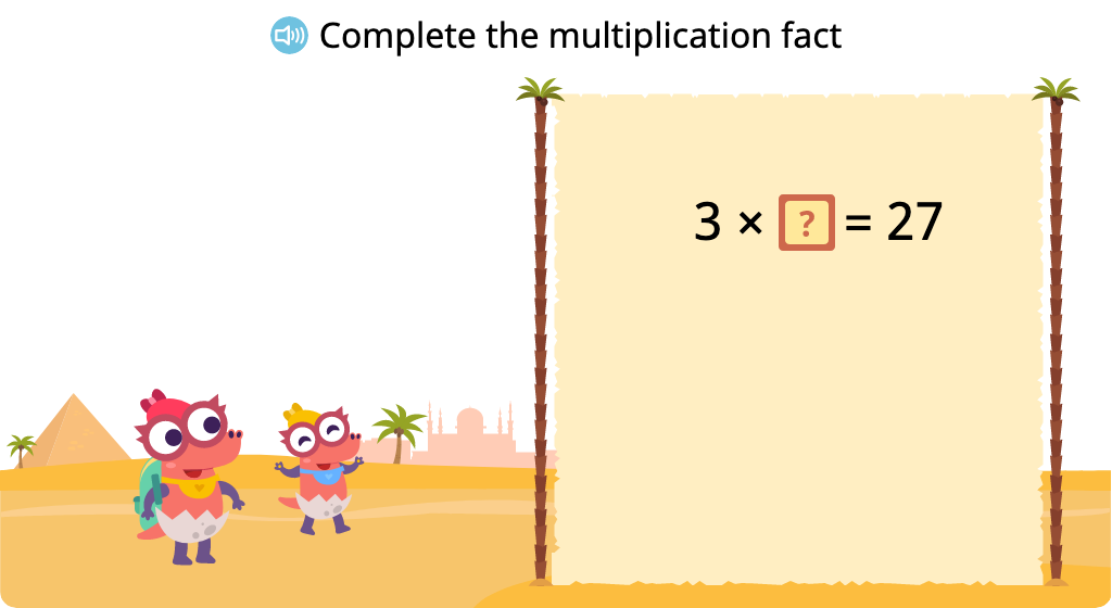 Solve for an unknown represented by a letter in multiplication equations