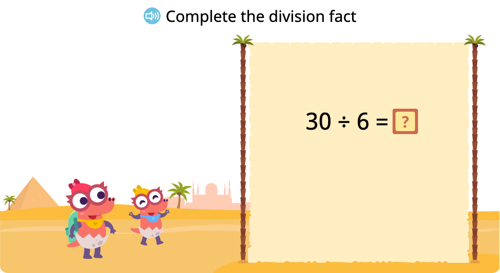Solve for an unknown represented by a letter in division equations