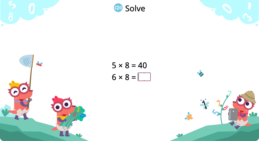 Determine products of 8 in a times table