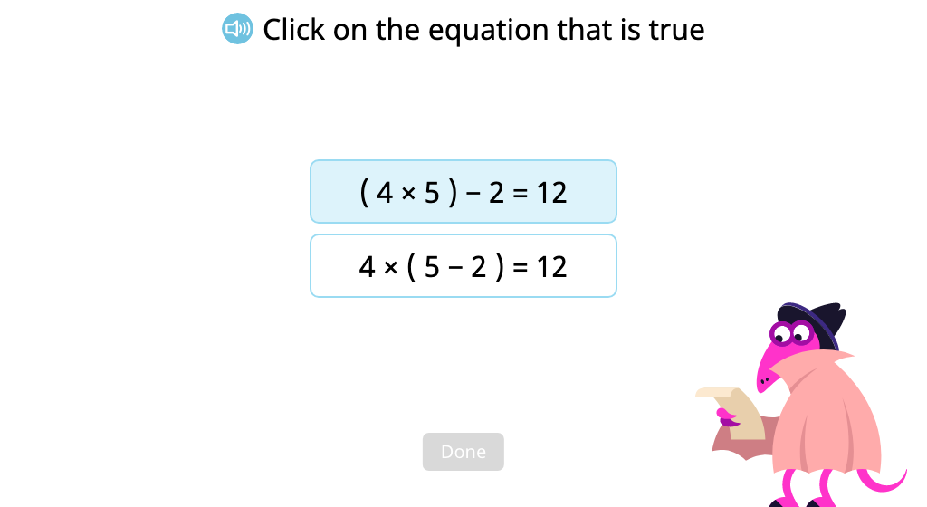 Identify a multi-step equation with parentheses that is solved correctly