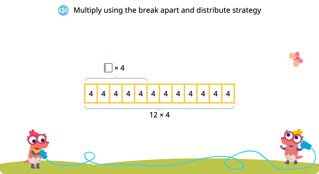 Solve multiplication equations using the break apart and distribute strategy (Part 1)