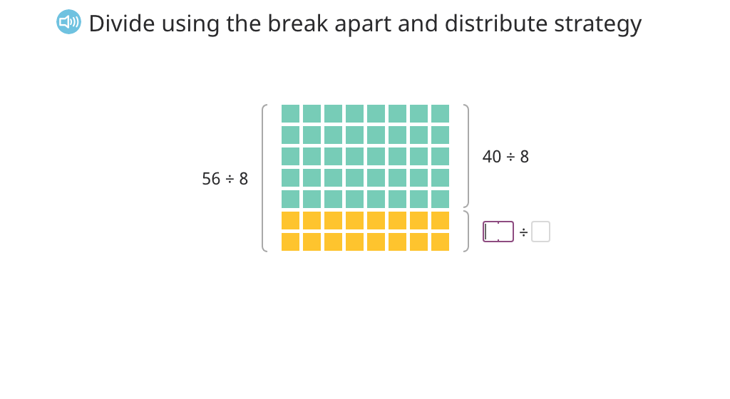 Solve division equations using the break apart and distribute strategy (Part 1)