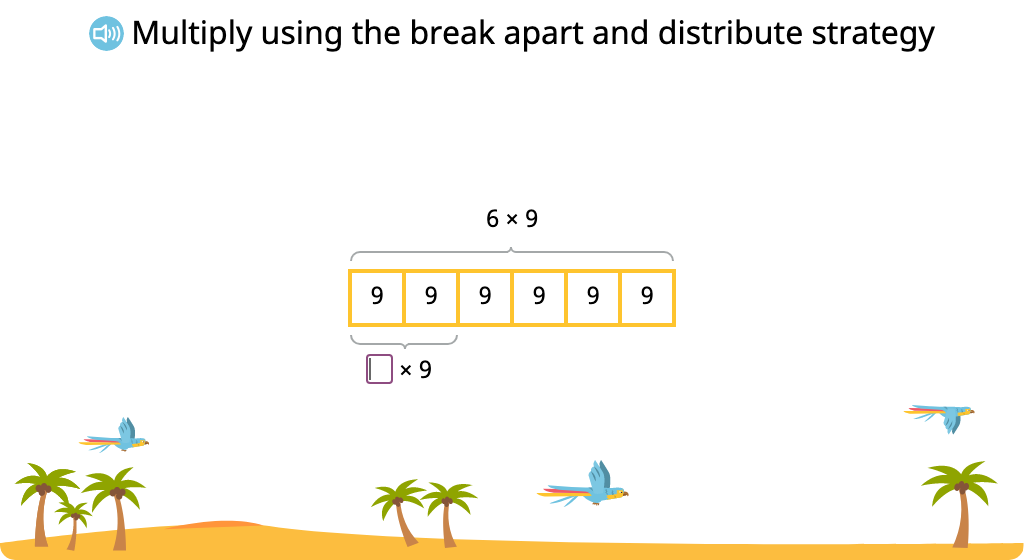 Solve multiplication equations using the break apart and distribute strategy