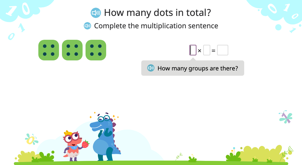 Compose a multiplication sentence (including 1x) to represent a model