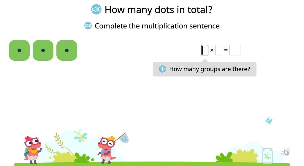 Solve multiplication problems that use 1 as a factor (including n x 1)
