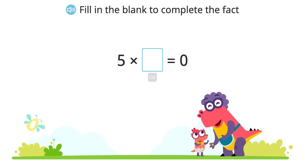 Solve for an unknown (represented by a letter) in multiplication and division problems that include 0