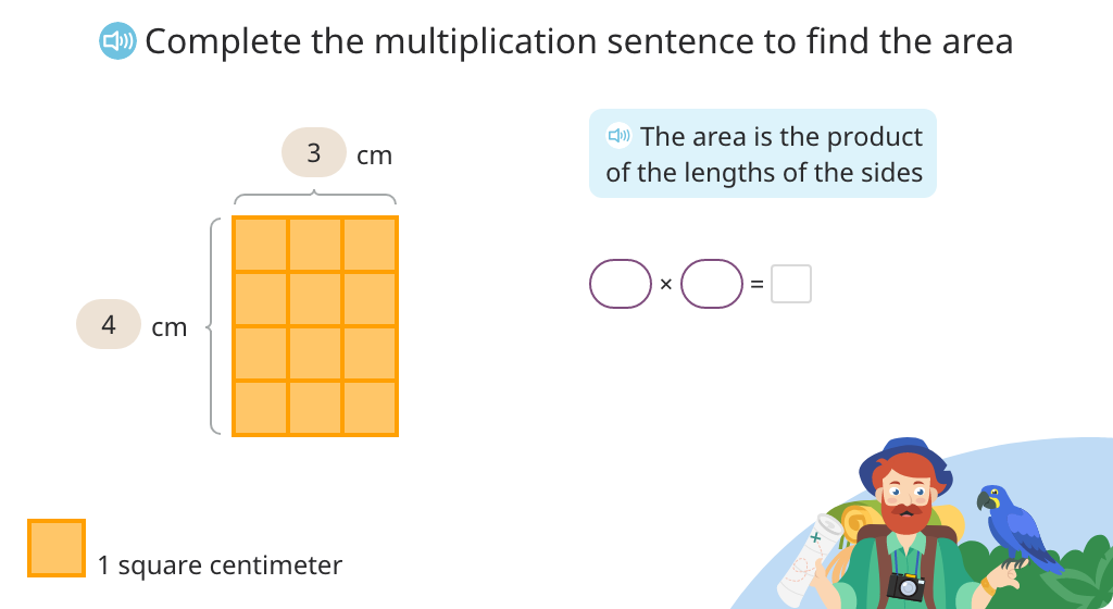 Multiply to find the area of a tiled rectangle (Level 2)