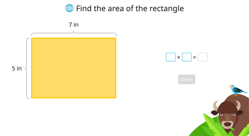 Determine the area of a rectangle by multiplying the lengths of the sides (Level 3)