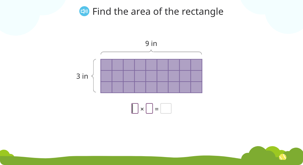 Multiply to find area by splitting a rectangle into smaller parts (Level 1)