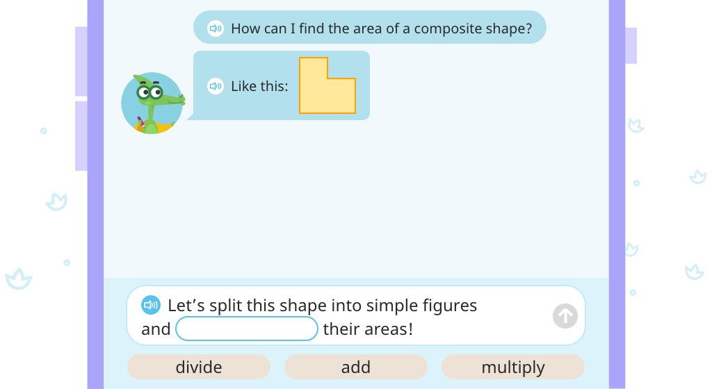 Determine area of a composite shape by splitting it into two rectangles and adding the areas (Part 1)
