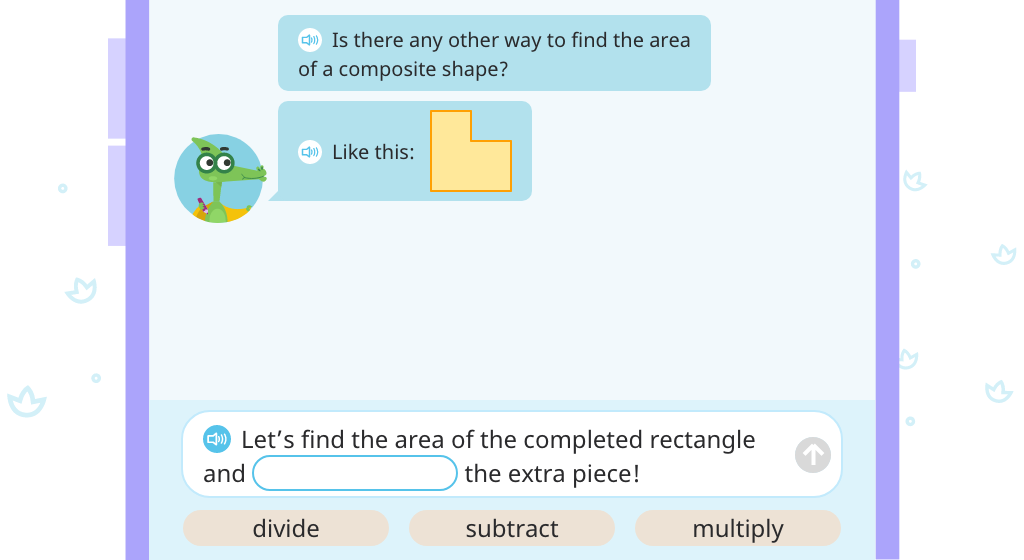 Determine area of a composite shape by completing the rectangle and subtracting the area of the missing piece (Part 1)