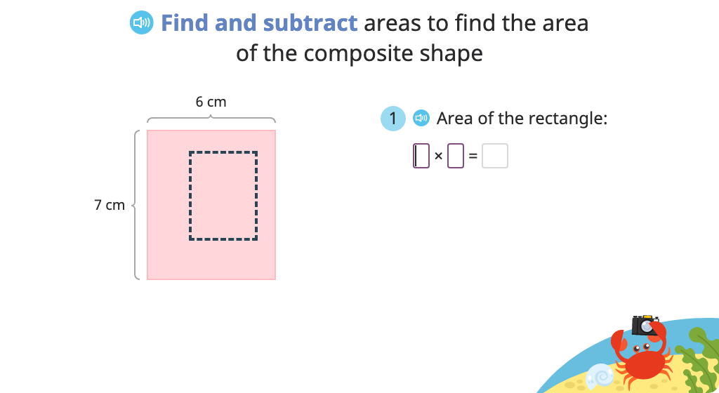 Determine area of a composite shape by completing the rectangle and subtracting the area of the missing piece (Part 2)