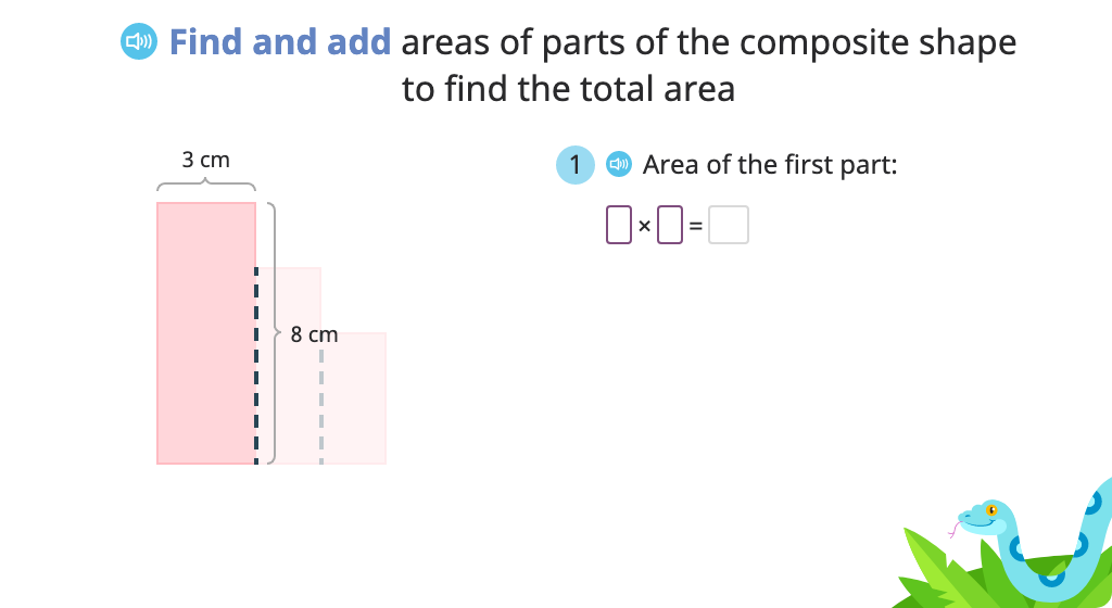 Determine area of a composite shape by splitting it into two rectangles and adding the areas (Part 2)