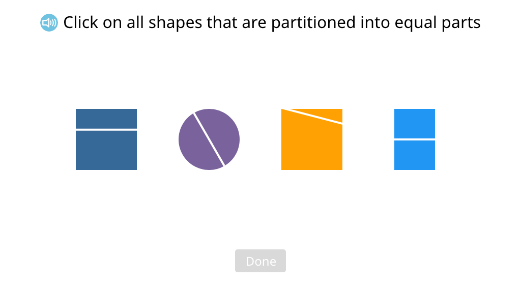 Identify shapes that are partitioned into equal parts
