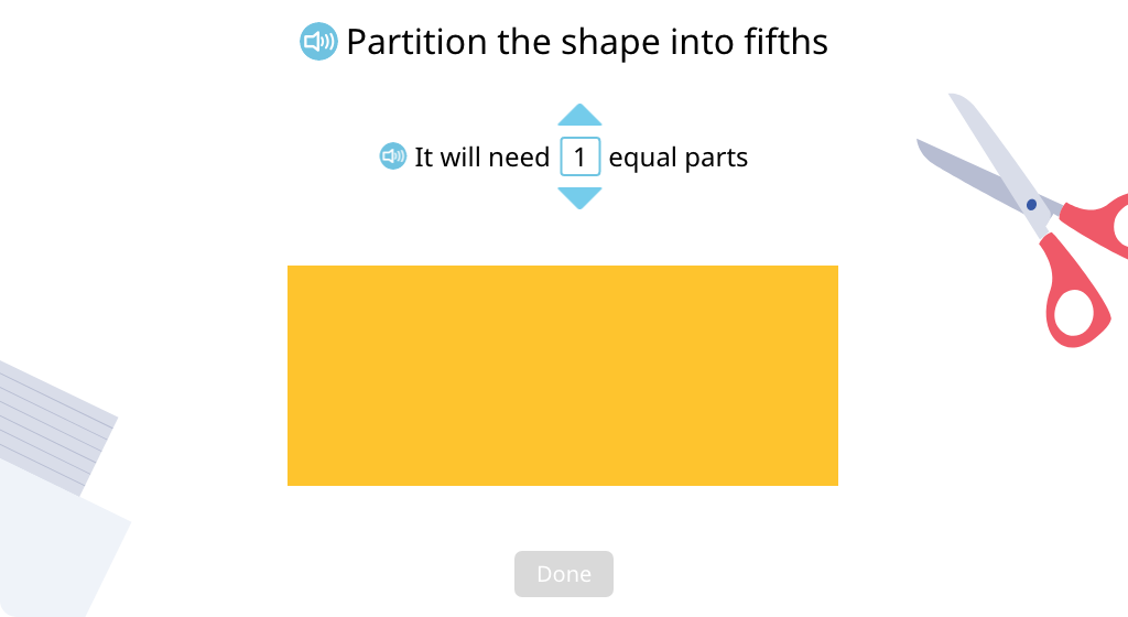 Determine the number of equal parts needed to partition a shape into a given denominator