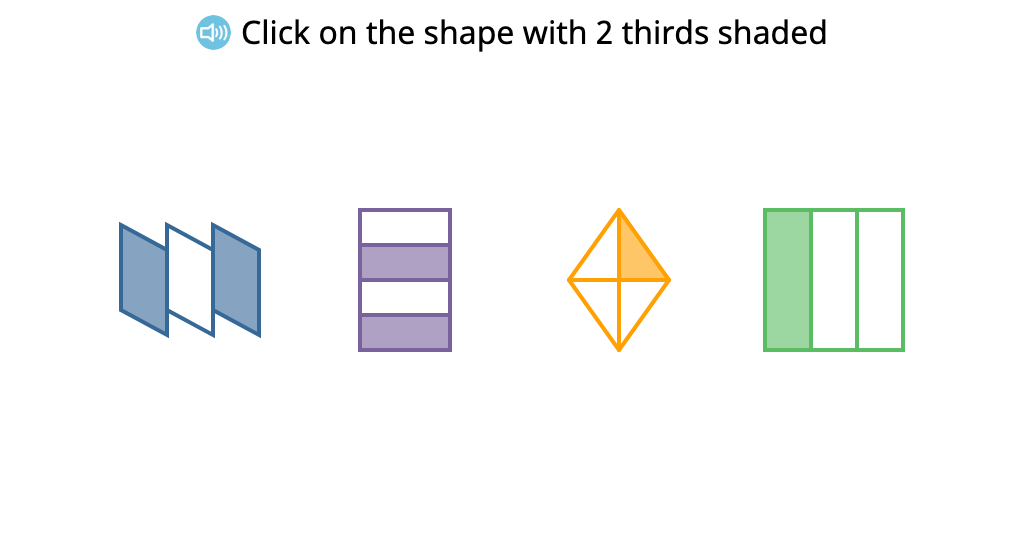 Identify shapes that have a given portion shaded