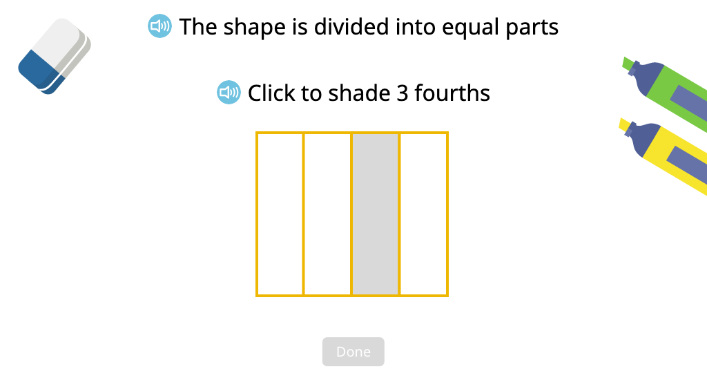 Partition and shade a shape to represent a given portion