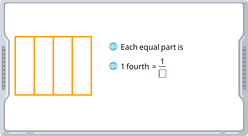 Label part of a figure with a unit fraction written in standard form