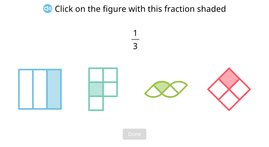 Identify figures that have a given unit fraction shaded
