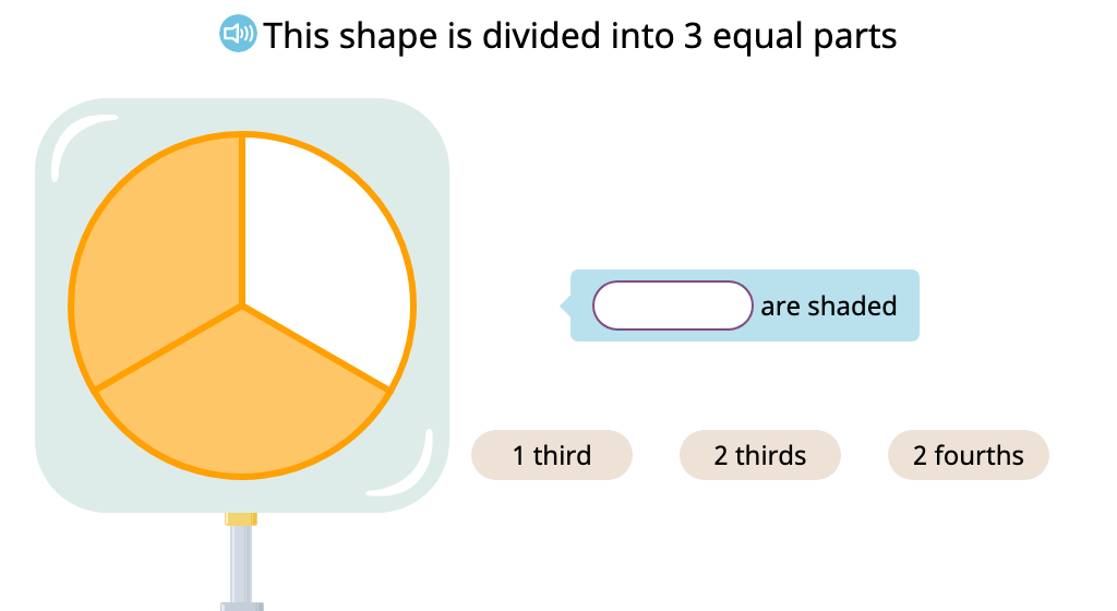 Label the shaded part of a figure with a fraction written in standard form