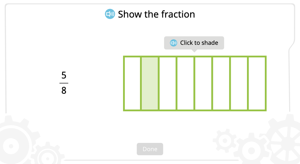 Shade parts of a figure to represent a given fraction
