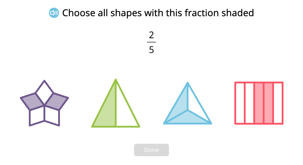 Identify figures that have a given fraction shaded and fractions that represent the shaded part of a figure