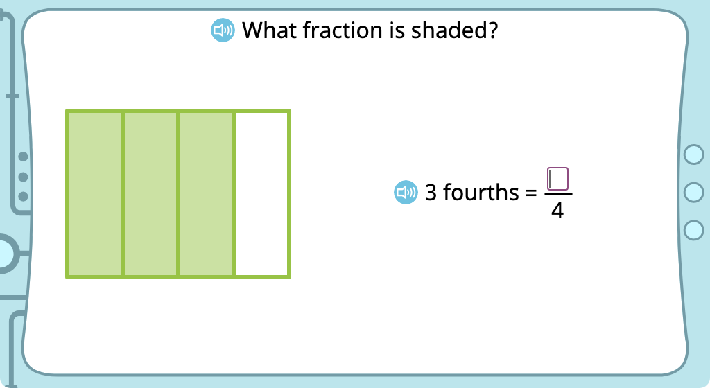 Write a fraction to identify the shaded part of a figure (Level 1)